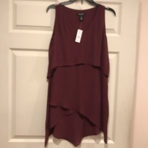 White House Black Market tiered sleeveless blouse